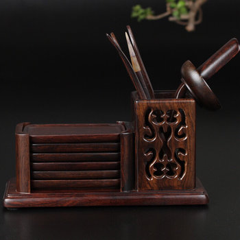 Tea ceremony set - ebony 6 gentlemen & cup-mats
