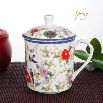 Teacup with lid - spring