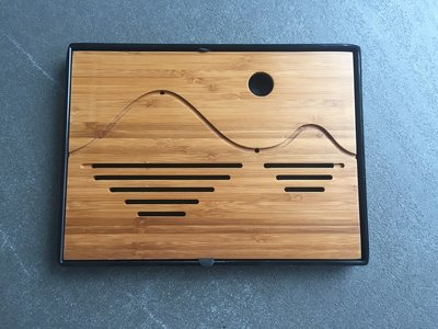 Tea tray - Bamboo wave 250x190 black