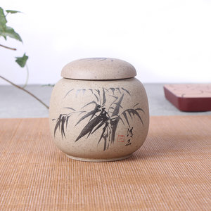 Tea caddy - vintage pottery - Bamboo